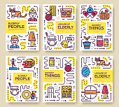 Granny day thin line icons design cards. Outline old people and adult items background concept. Template of flyear, magazine, poster, book cover, banners. Vector elderly grandmother and grandfather house