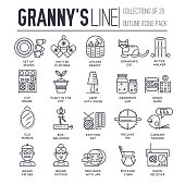 Granny day thin line icons design illustration set. Flat outline old character people and adult items background concept. Vector elderly grandmother and grandfather house