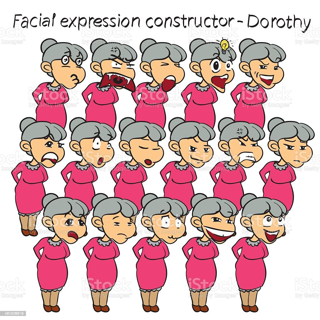 Granny facial expression vector art illustration