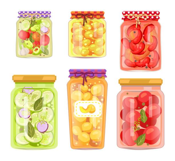ilustrações de stock, clip art, desenhos animados e ícones de granny homemade fruit conserve and pickled veggie - confiture tomatoes
