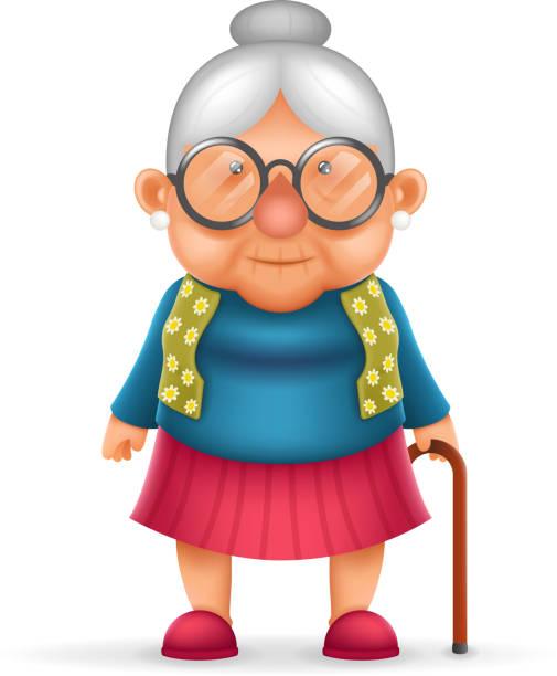 illustrations, cliparts, dessins animés et icônes de granny old lady 3d realistic cartoon character design isolated vector - une seule femme senior