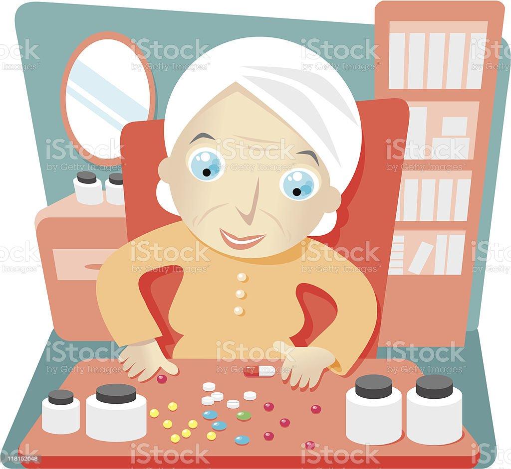 granny pills vector art illustration