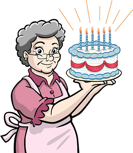 Granny With Birthday Cake Vector Art Illustration