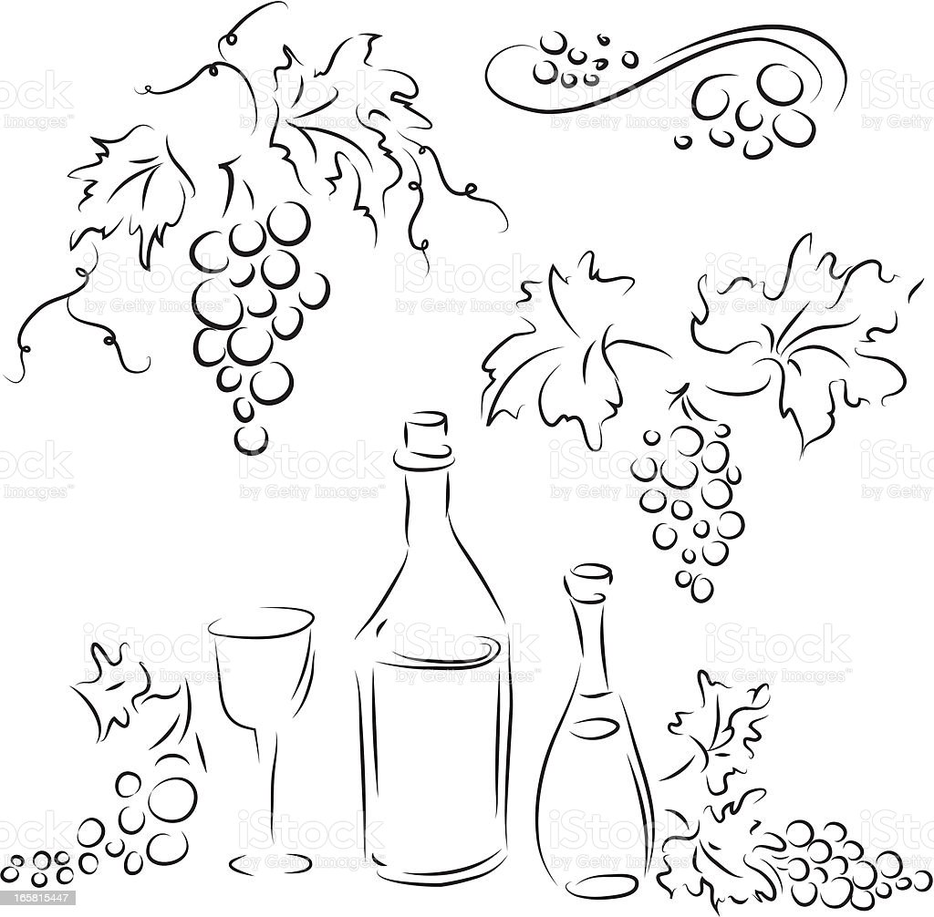 Grape and wine royalty-free stock vector art