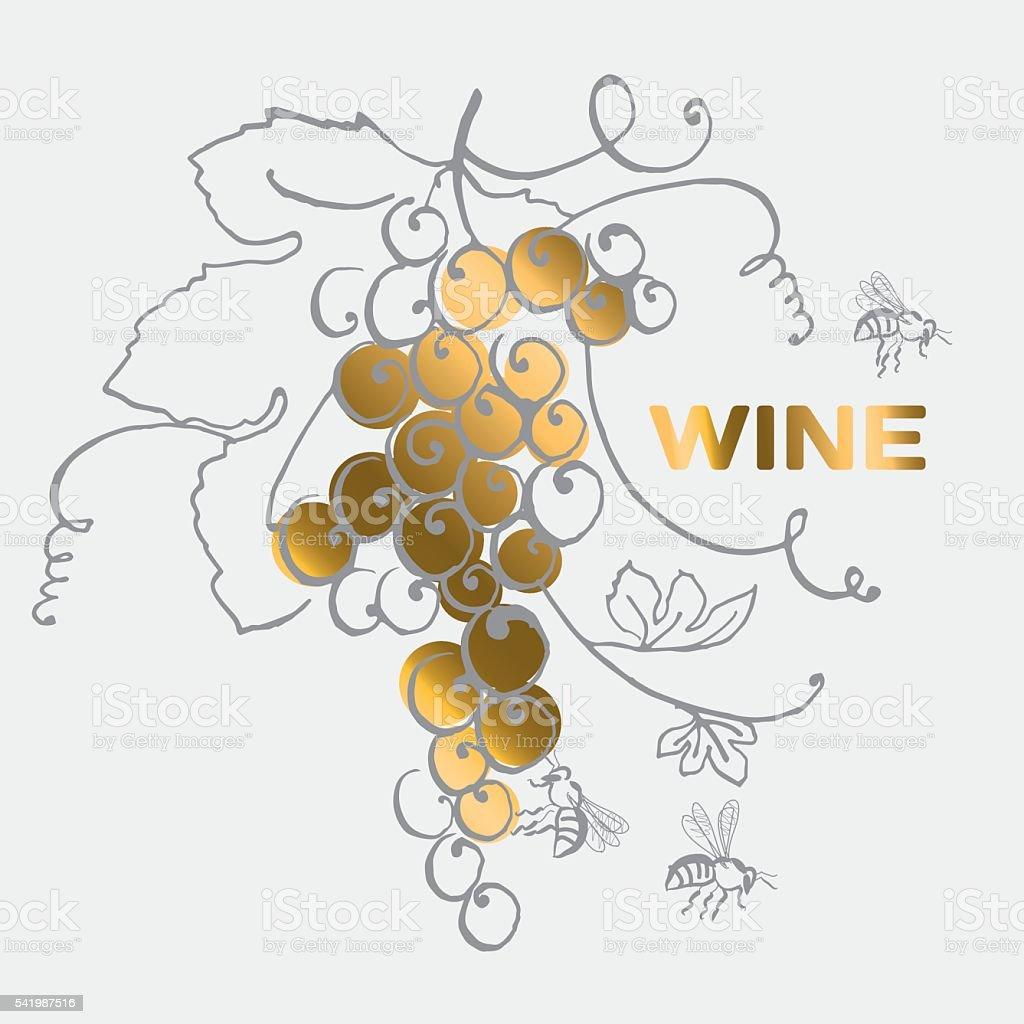 Ilustración de Racimo De Uvas Para Etiqueta De Vino y más banco de ...