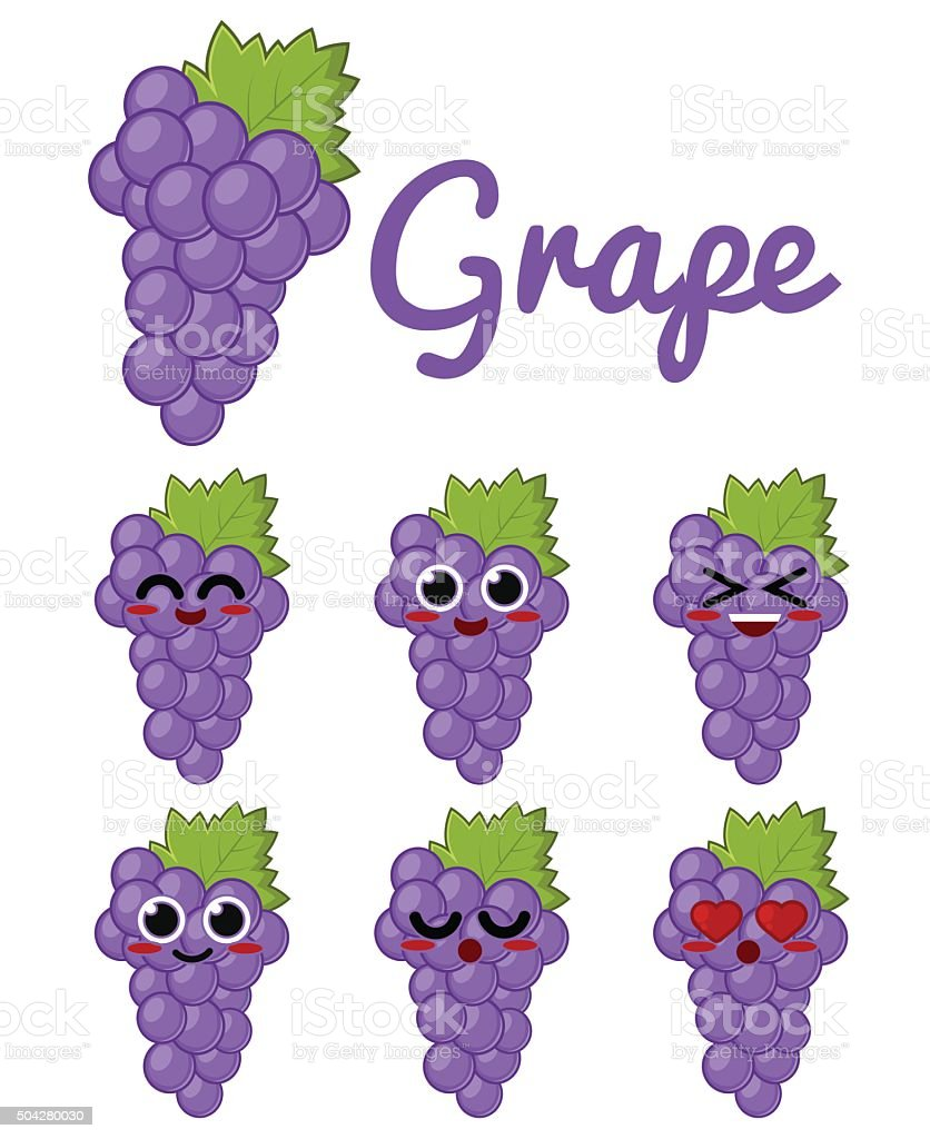 Grape Character vector art illustration