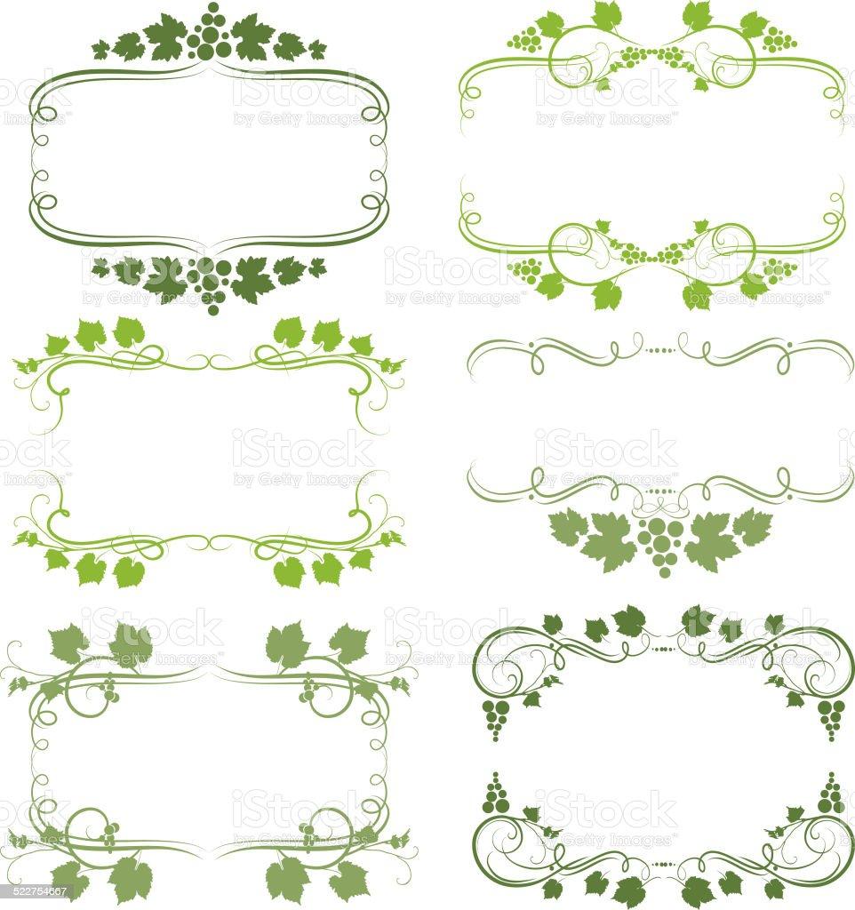 grape frames vector art illustration