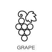 Grape fruits sign icon in flat style. Grapevine vector illustration on white isolated background. Wine grapes business concept.