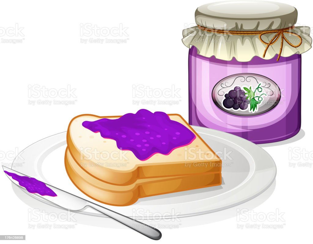 Grape jam with a sandwich at the plate royalty-free stock vector art