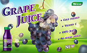 Grape juice bottle with sunny bokeh background. Juice container package ad isolated. 3d realistic ripe grape Vector illustration EPS 10