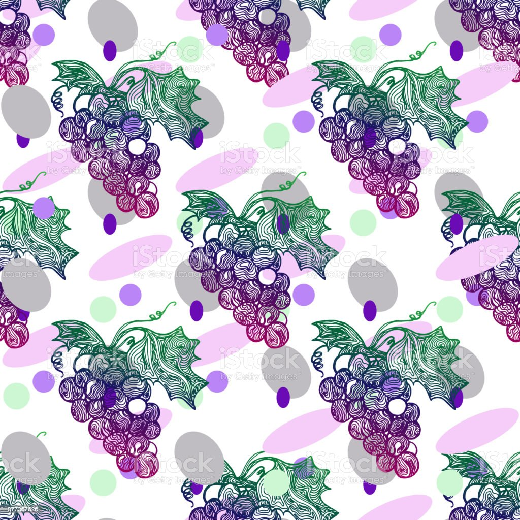 Grape seamless pattern vector art illustration