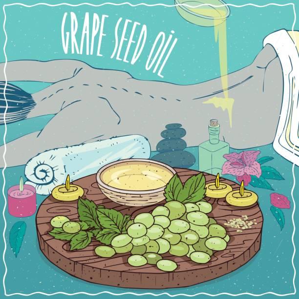 illustrazioni stock, clip art, cartoni animati e icone di tendenza di grape seed oil used for body massage - china drug