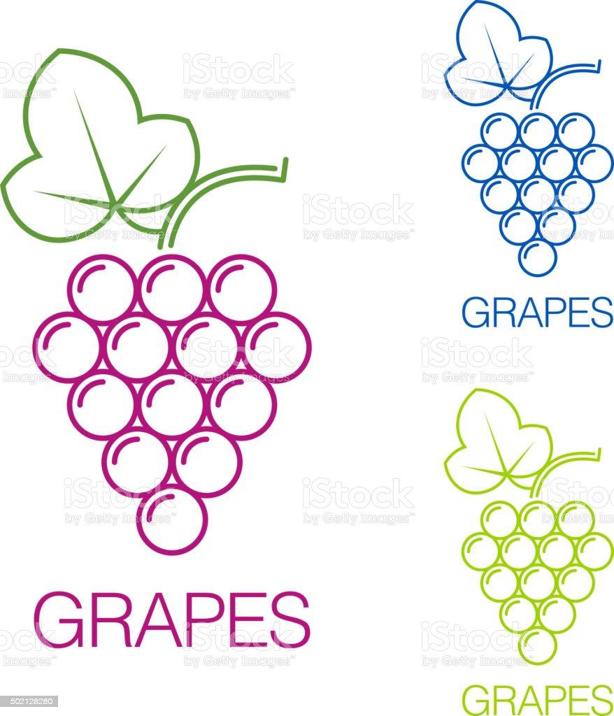 Grape sign. Logo wine production of wines vector art illustration