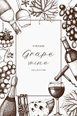Grape wine card design