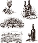 Vector drawings on the theme of wine.
