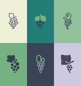 Grape with leaf. Logo templates set