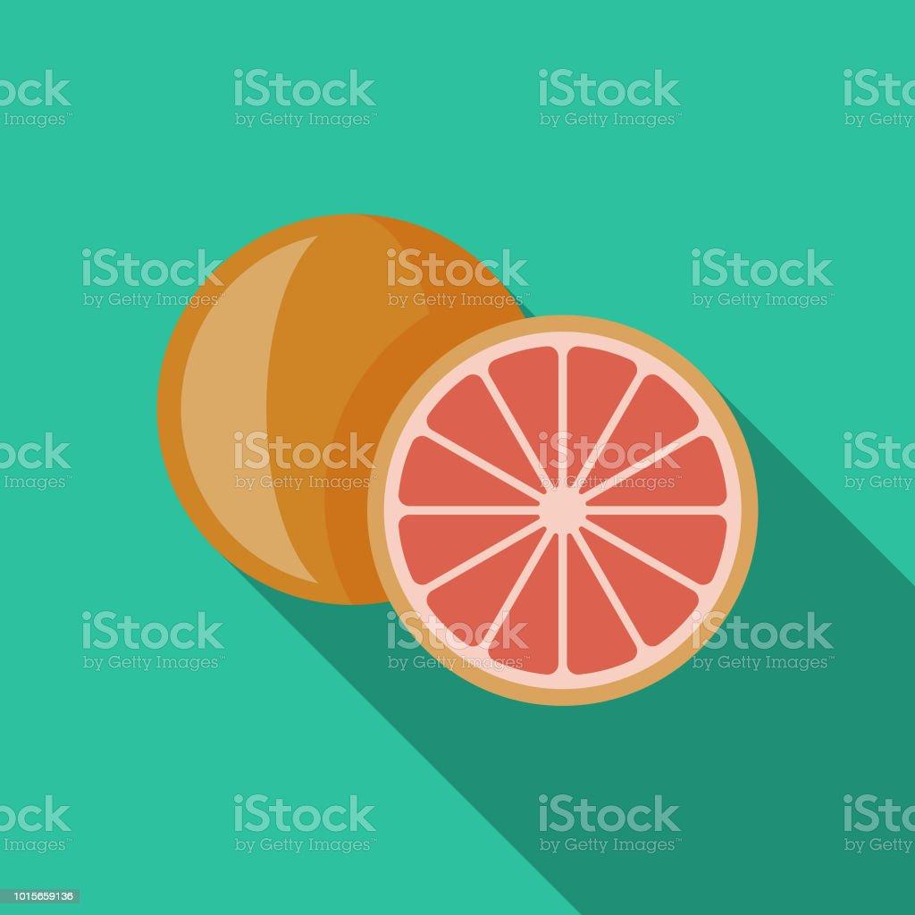 Grapefruit Flat Design Breakfast Icon vector art illustration
