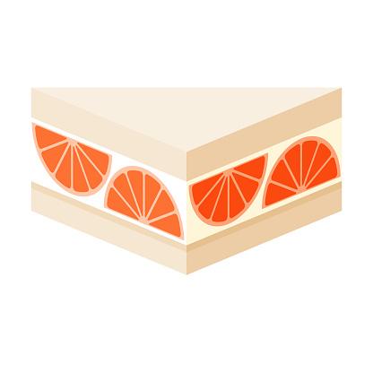 Grapefruit Japanese Konbini Sandwich Icon on Transparent Background