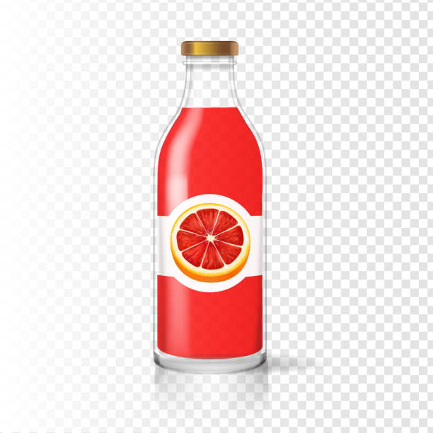 illustrazioni stock, clip art, cartoni animati e icone di tendenza di grapefruit juice bottle glass vector with juice label. fruit beverage packaging. - fruit juice bottle isolated