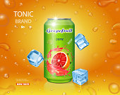 Grapefruit juice can fruit drink. Ads design with ice cubes