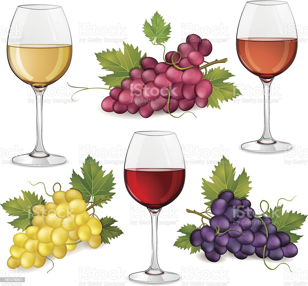 Grapes and glasses of wine royalty-free stock vector art