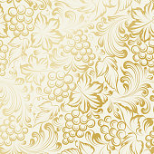 Grapes and leaves drawn in gold on a white background