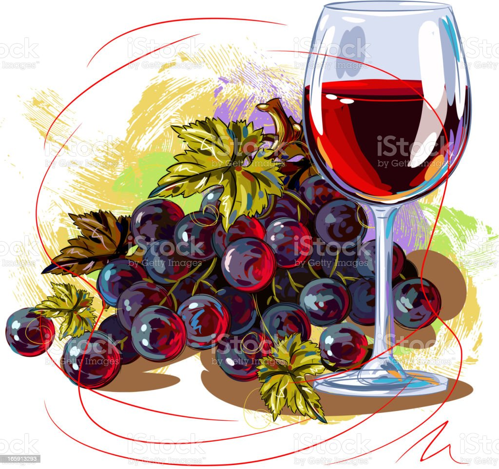 Grapes and Wine Glass royalty-free stock vector art
