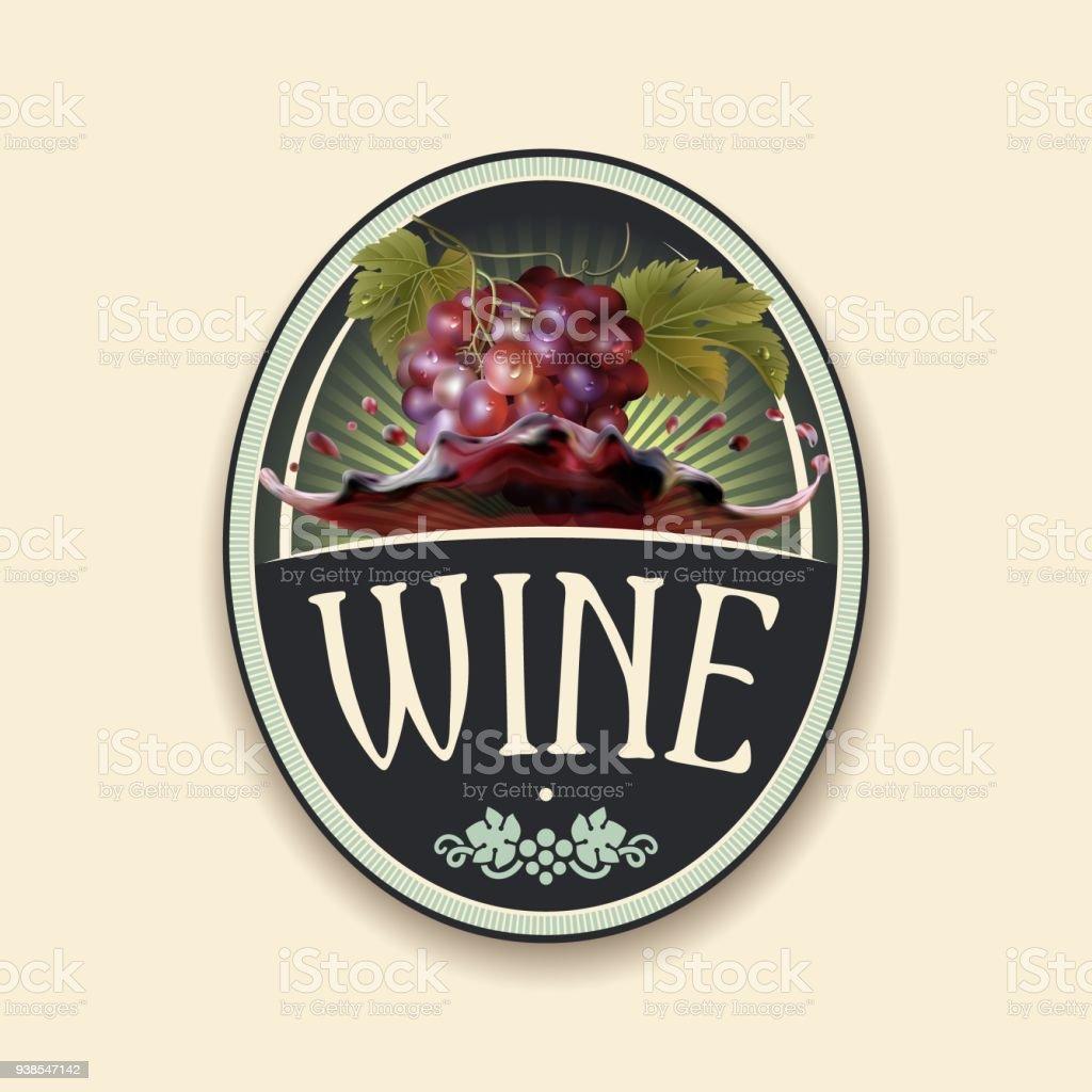 Grapes bunch, dew drops, red wine splash. Label vector art illustration