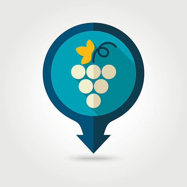 Grapes flat pin map icon. Fruit vector art illustration