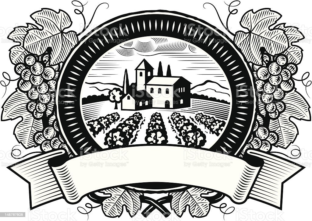 Grapes harvest label black and white vector art illustration