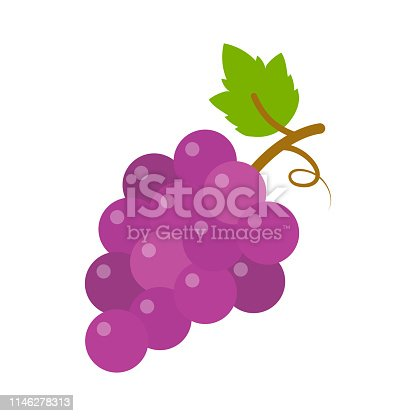 istock grapes icon, vector fruit illustration, nature wine 1146278313