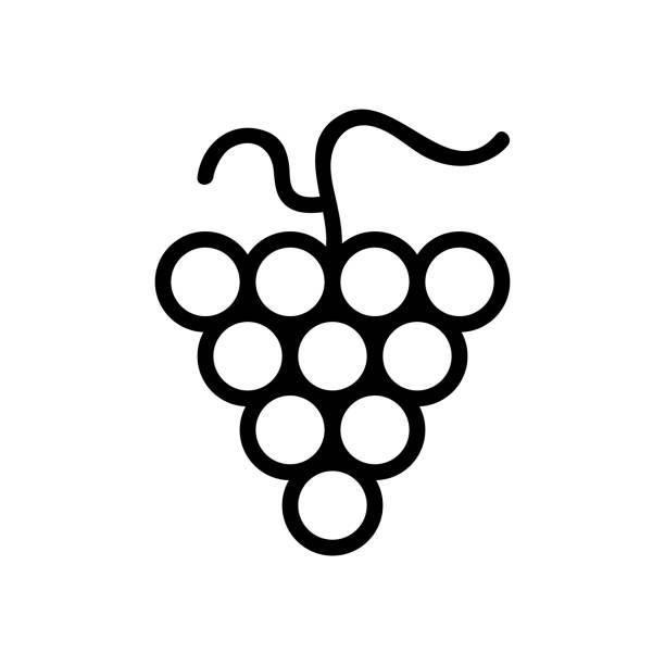 stockillustraties, clipart, cartoons en iconen met druiven pictogram vector. geïsoleerde illustratie van het contoursymbool - kruisbloemenfamilie