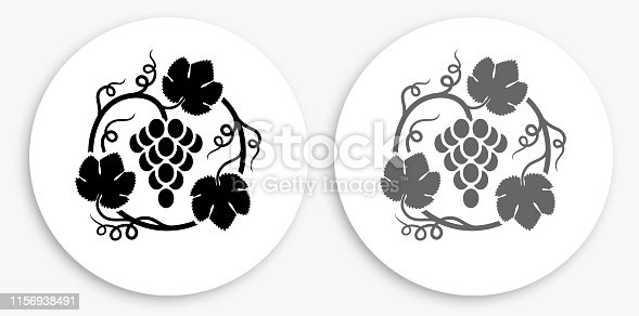 Grapes in Vines Black and White Round Icon. This 100% royalty free vector illustration is featuring a round button with a drop shadow and the main icon is depicted in black and in grey for a roll-over effect.