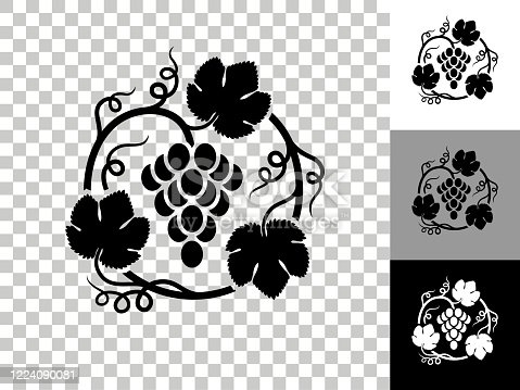 Grapes in Vines Icon on Checkerboard Transparent Background. This 100% royalty free vector illustration is featuring the icon on a checkerboard pattern transparent background. There are 3 additional color variations on the right..