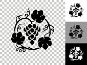 istock Grapes in Vines Icon on Checkerboard Transparent Background 1224090081