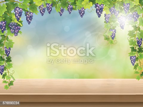 619246768 istock photo grapes on empty wooden deck 576593234