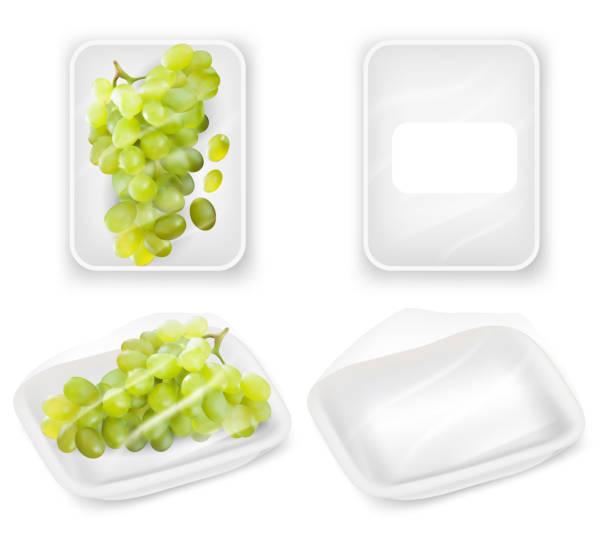 ブドウ トレイ包装ベクトル現実的モックアップ セット - マスカット イラスト点のイラスト素材/クリップアート素材/マンガ素材/アイコン素材