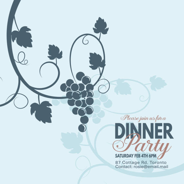 grapes wine dinner party invitation template stock vector art more
