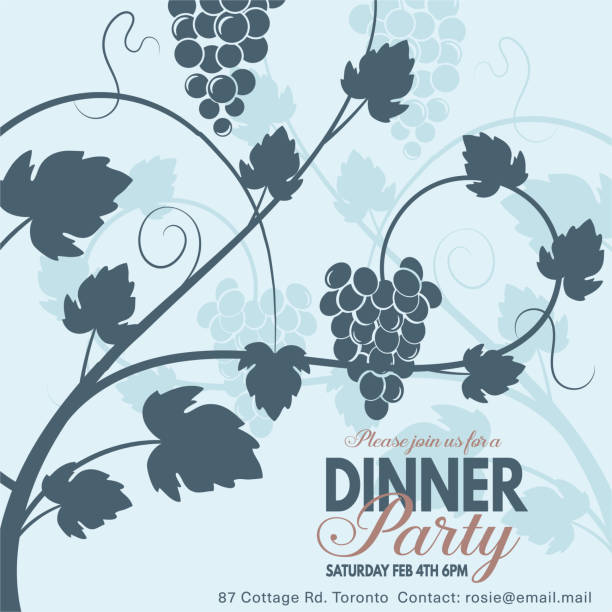grapes wine dinner party invitation template stock vector art