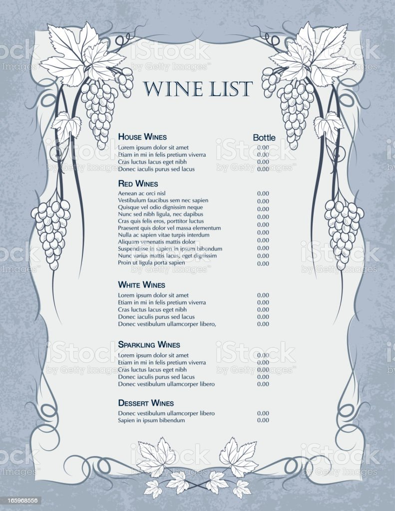 Grapes Wine List Template Royalty Free Grapes Wine List Template Stock  Vector Art U0026amp;  Free Wine List Template
