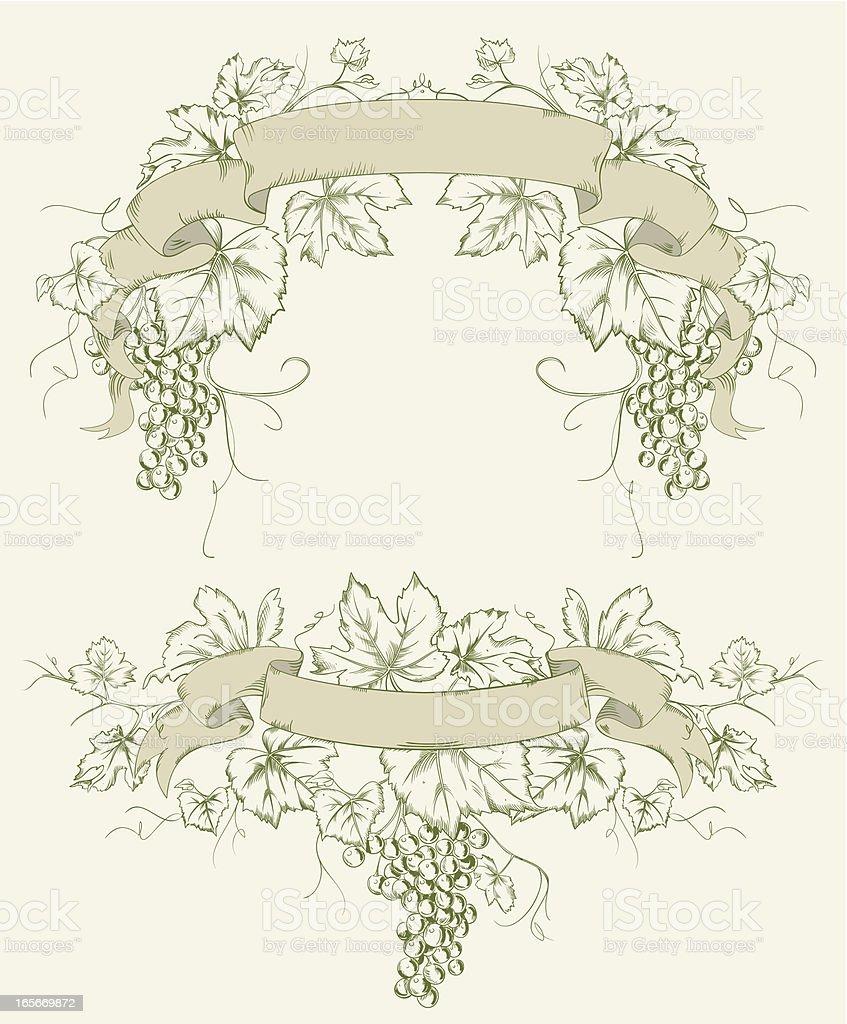 Grapevine Grape Line Art Ribbons royalty-free stock vector art