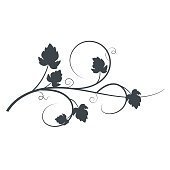 Grapevine Silhouette. Flat colors. Simple, easy to manipulate shapes. Great for invitations or posters.