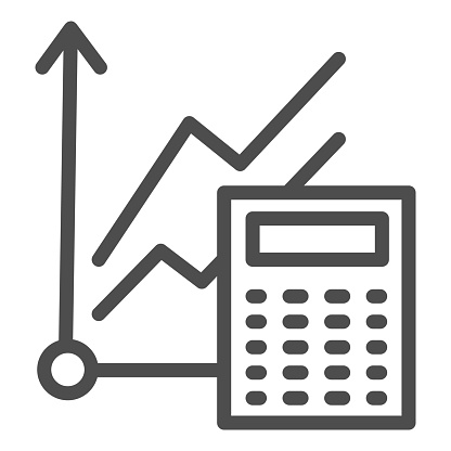 Graph and calculator line icon. Accounting, business calculation with diagram. Education vector design concept, outline style pictogram on white background.