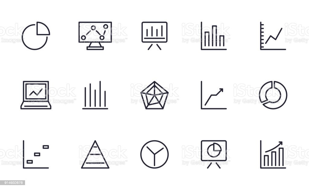 Graph and Chart icons set outline style vector art illustration