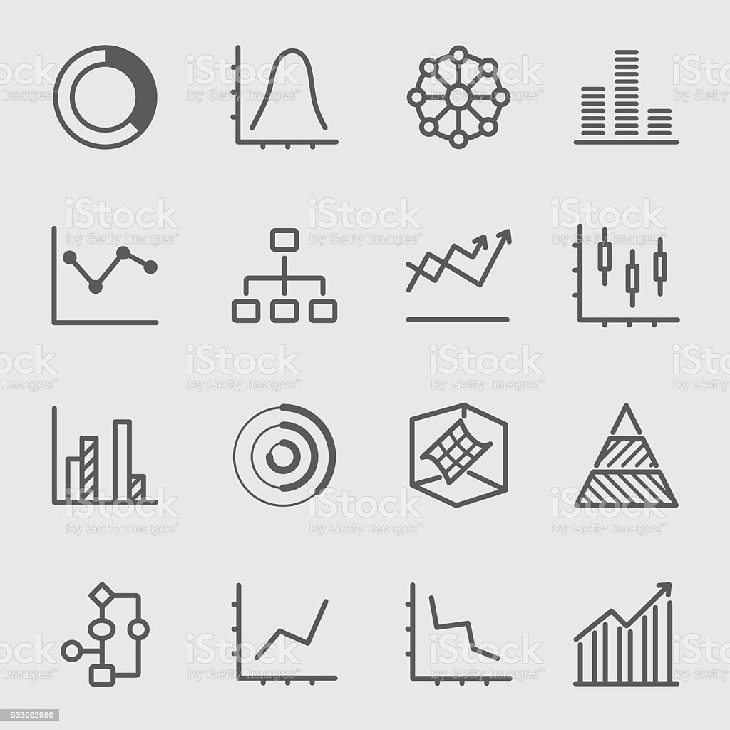 Graph and Diagram line icon 2 vector art illustration