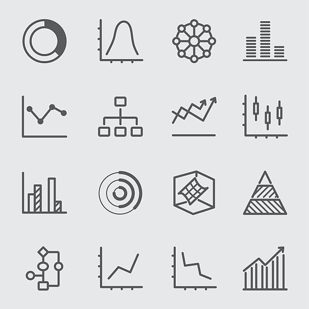 Graph and Diagram line icon 2 Graph and Diagram line icon 2 budget symbols stock illustrations