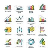 Graph and Diagram Line Icon Set