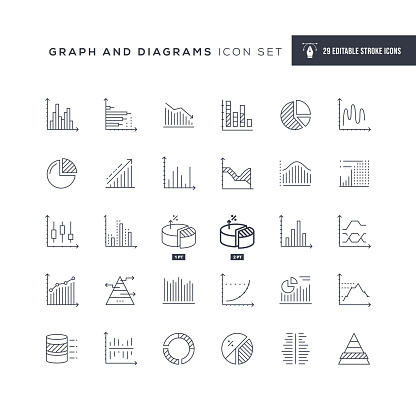 Graph and Diagrams Editable Stroke Line Icons