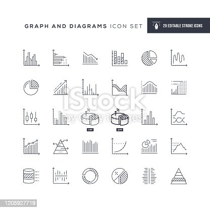 29 Graph and Diagrams Icons - Editable Stroke - Easy to edit and customize - You can easily customize the stroke with