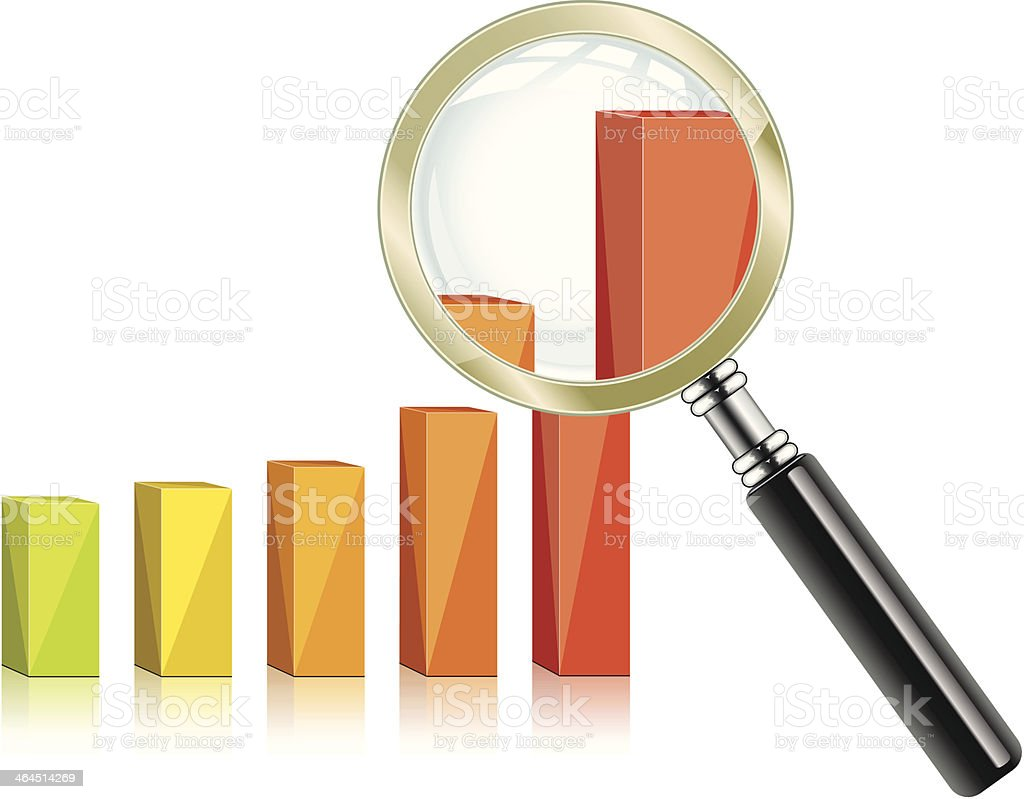 Graph and magnifying glass - VECTOR royalty-free graph and magnifying glass vector stock vector art & more images of bar graph